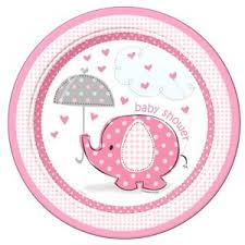 baby shower round edible cake topper pink blue boy elephant