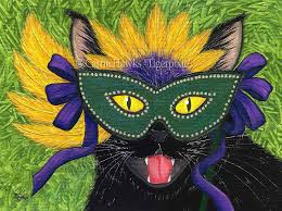 black mardi gras cat mardi gras black cat painting new orleans mask nola