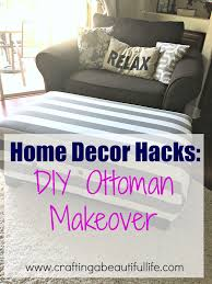 home decor hacks for recovering an old ottoman in your home