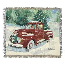 Vintage Ford Truck Apparel - christmas truck tapestry throw