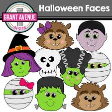 Cute Halloween Monsters by Halloween Faces Clipart