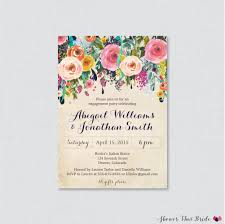floral engagement party invitation printable or printed