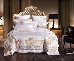 Bedding Sets Luxury Luxury Cotton Embroidery Wedding Bedding Set White Satin