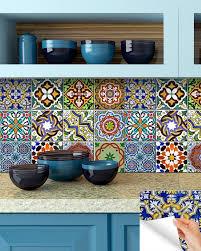 Mexican Tiles For Kitchen Backsplash Amazon Com Backsplash Tile Stickers 24 Pc Set Authentic
