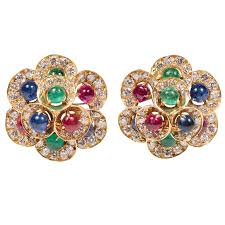 clip on earring exquisite bulgari diamond emerald sapphire and ruby gold ear