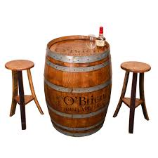 whiskey barrel irish pub table set personalized wine barrel
