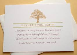 thank you for sympathy card strong tree sympathy thank you notes a way to say thank you