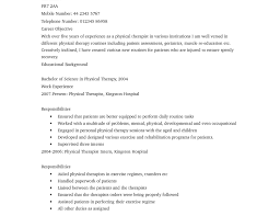respiratory therapist resume objective sample physical therapy resume