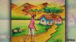 28 easy house drawing simple drawing of house how to draw a village landscape with oil pastel oil pastel