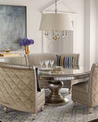 Lisandra AntqiuedMirrored Round Dining Table Round Dining Table - Banquette dining room furniture