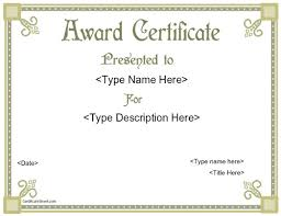 blank award certificate templates word award certificates word
