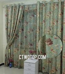 vintage green floral printed and jacquard country curtains