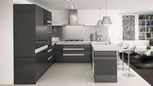 kitchen u shape kitchen in high gloss gunmental with integrated