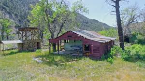 ranch house ojai aerial of old abandoned western barn on a ranch in ojai stock