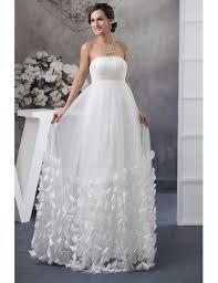 maternity wedding dress strapless beaded pearls tulle maternity wedding dress with petals