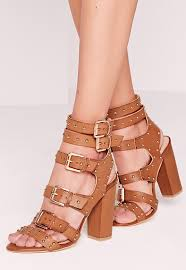 buckled block heel gladiator sandals tan missguided