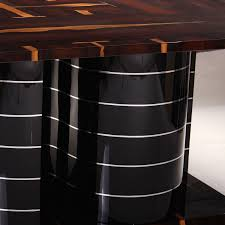 art deco dining table glossy varnished wood stainless steel