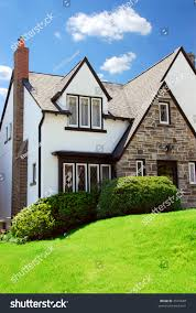 residential tudor style house blue sky stock photo 2591848