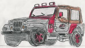 cartoon jeep drawings jurassic park jeep by carfan on deviantart