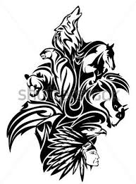 native american tribal chief with animal spirits tattoo designs in