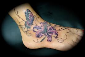 butterflytattoo designs butterfly and flower tattoos on foot