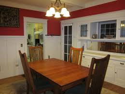 small dining room spaces painted with red and white wall interior