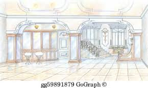 stock illustration hand drawn sketch of a bedroom clipart