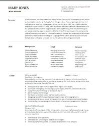 Stage Manager Resume Template Sample Resume Of Store Manager Resume Sample Retail Sample Resume