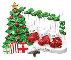 Frank Banister Family Of 3 Stockings On Bannister Personalized Ornament My