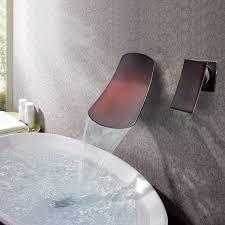 orb black bronze wall waterfall bathroom sink faucet at