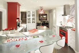 Two Tone Kitchen by Glass Countertops With Modern Bar Stools And Two Tone Kitchen