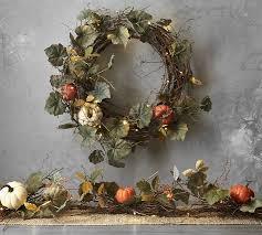 lit pumpkin wreath garland pottery barn