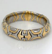 ladies gold bracelet bangle images Ladies 750 1989 bvlgari white yellow gold wide bangle bracelet JPG