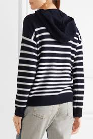 vince hooded striped cashmere sweater blue women clothing knitwear