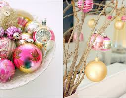pink and gold ornaments tree for my scraproom