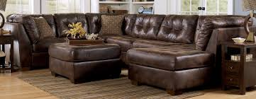 decor brown leather sectional sofa with coffee table and rug for