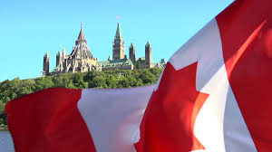 a canadian flag slow motion before the ottawa government