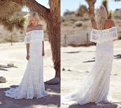 simple full lace country boho wedding dresses off the shoulder