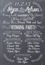custom wedding programs wedding program poster bridal party sign chalkprint program sign