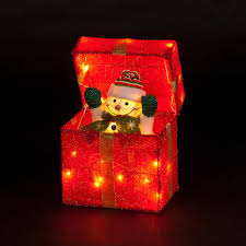 indoor lighted gift boxes snowman popping out of gift box lit animated indoor display http
