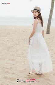 dam maxi đầm maxi ren trắng xinh đi biển mùa hè quần legging quần