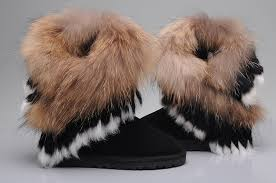 womens ugg boots fox fur ugg 8288 fox fur boots for in chocolate