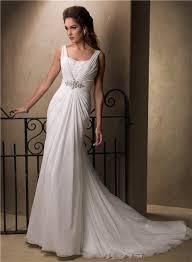 a line sheath empire waist chiffon crystal wedding dress with cowl