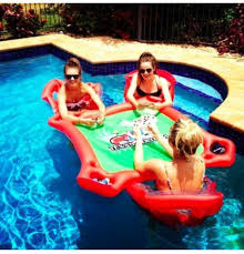 floating table for pool amazon texas holdem inflatable pool poker set w card table floating