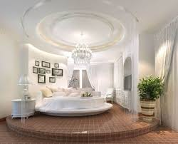 Curtain Separator High End Bedroom With Round Bed And Round False Ceiling With