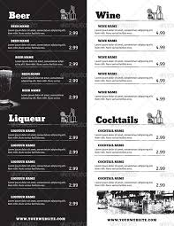 drink menu template free drink menu menu book ideas food menu template
