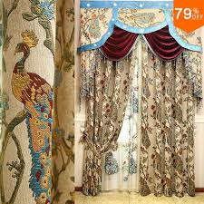 Peacock Curtains Fir Forest Color Bird Curtain Jungle Tree And Peacock Luxury Mode