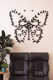 black 3d butterfly wall art zoom