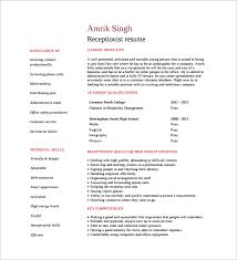 Objective For Receptionist Resume Sample Receptionist Resume 9 Download Free Documents In Pdf Word