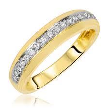 gold womens wedding band 1 3 carat t w diamond matching wedding rings set 10k yellow gold